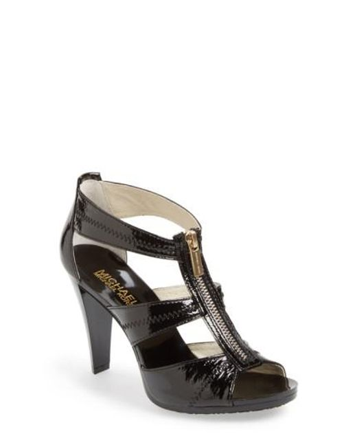 MICHAEL Michael Kors | Black Berkley T-Bar Sandals | Lyst