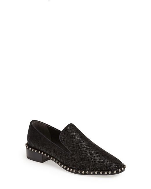 Adrianna Papell | Black 'prince' Studded Smoking Slipper Flat | Lyst