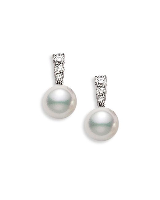 Mikimoto - Metallic 'morning Dew' Akoya Cultured Pearl & Diamond Earrings - Lyst