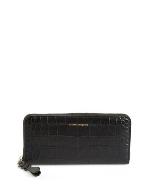 Alexander McQueen - Black Croc-embossed Leather Zip Around Wallet - - Lyst