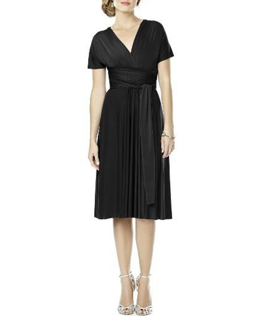 Dessy Collection | Black Convertible Wrap Tie Surplice Jersey Dress | Lyst
