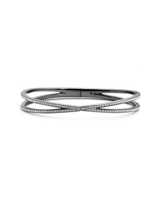 Nadri | Black Pave Hinged Crossover Bracelet (nordstrom Exclusive) | Lyst