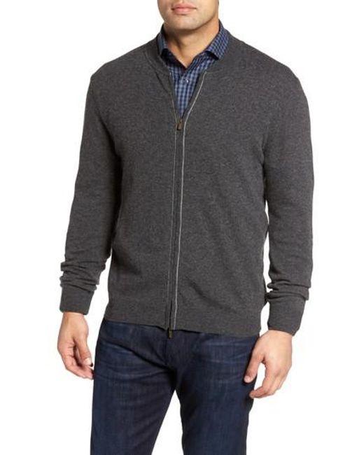 Bugatchi - Gray Zip Sweater for Men - Lyst