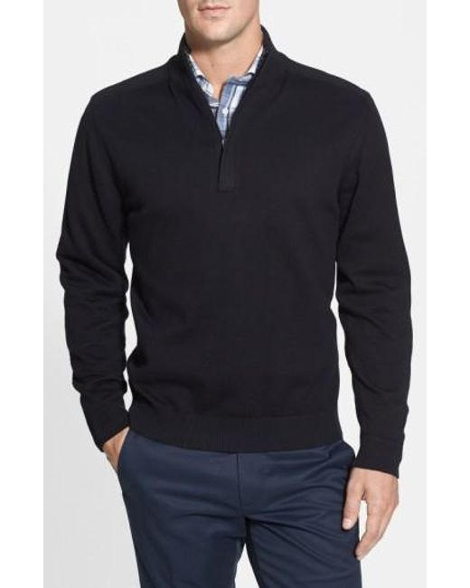 Cutter & Buck | Black 'broadview' Half Zip Sweater for Men | Lyst