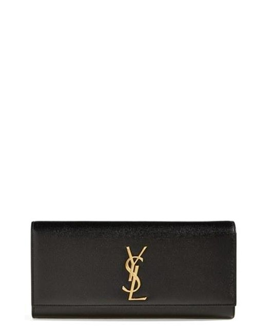 Saint Laurent | Red 'monogram' Leather Clutch | Lyst
