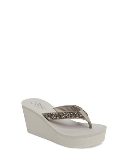 Callisto | Gray Piers Sparkle Wedge Flip Flop | Lyst