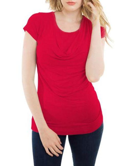 Nurture-Elle | Red Cowl Neck Short Sleeve Nursing Top | Lyst