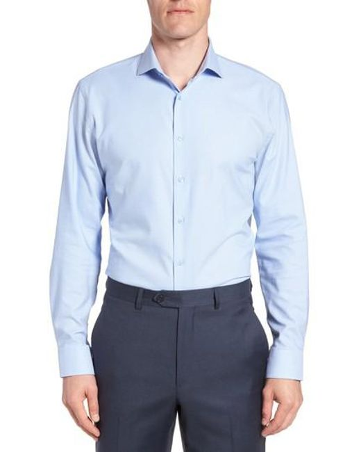 Nordstrom - Blue Tech-smart Trim Fit Stretch Texture Dress Shirt for Men - Lyst