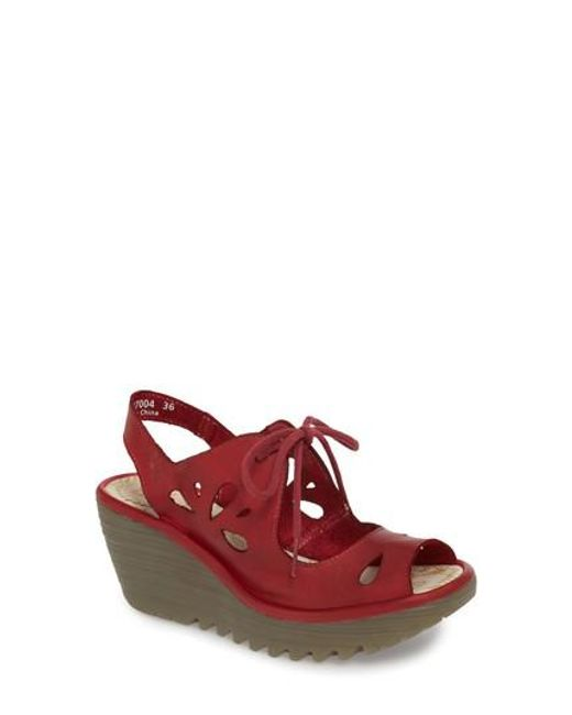 Fly London - Red Yend Platform Wedge Sandal - Lyst