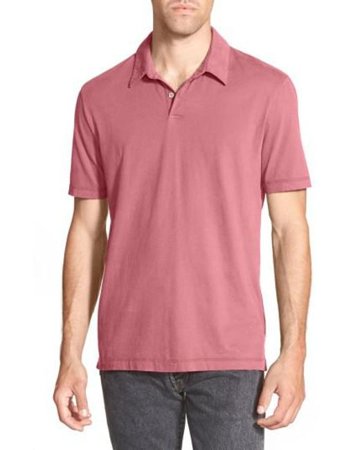 James Perse | White Slim Fit Sueded Jersey Polo for Men | Lyst