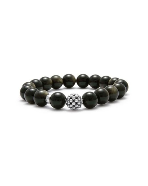 Lagos | Black Bead Stretch Bracelet | Lyst