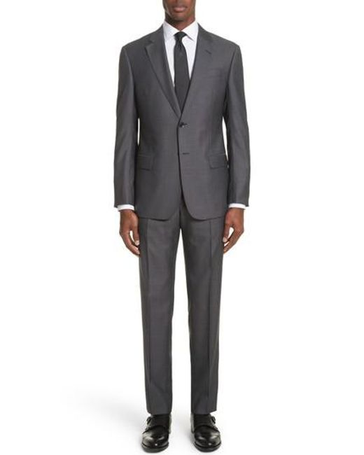 Emporio Armani - Gray G Line Trim Fit Solid Wool & Silk Suit for Men - Lyst