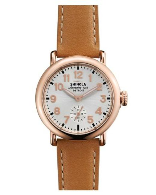 Shinola | Pink 'the Runwell' Leather Strap Watch | Lyst