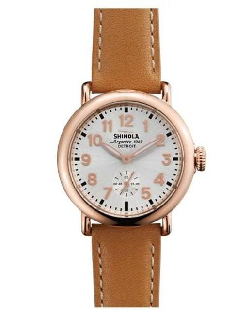 Shinola | Pink 'the Runwell' Leather Strap Watch | Lyst