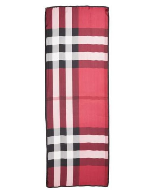 Burberry | Pink Mega Check Silk Scarf | Lyst