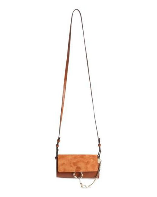 Chloé - Metallic Mini Faye Suede & Leather Wallet On A Chain - Lyst