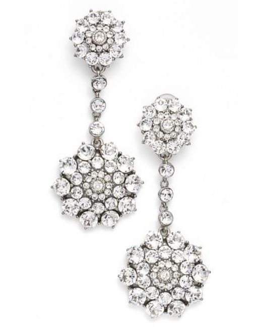 Oscar de la Renta - Metallic 'classic Jeweled' Swarovski Crystal Drop Earrings - Lyst