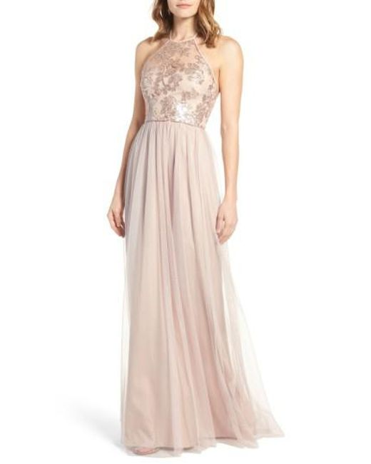 Amsale Sheridan Sequin Halter Dress In Pink