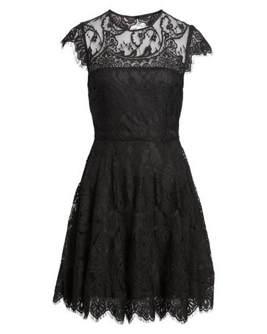 BB Dakota | Black 'rhianna' Illusion Yoke Lace Fit & Flare Dress | Lyst