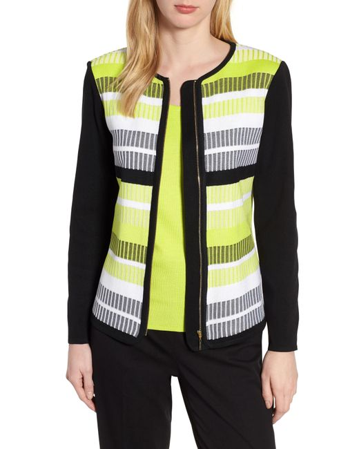Ming Wang - Black Long Sleeve Stripe Jacket - Lyst