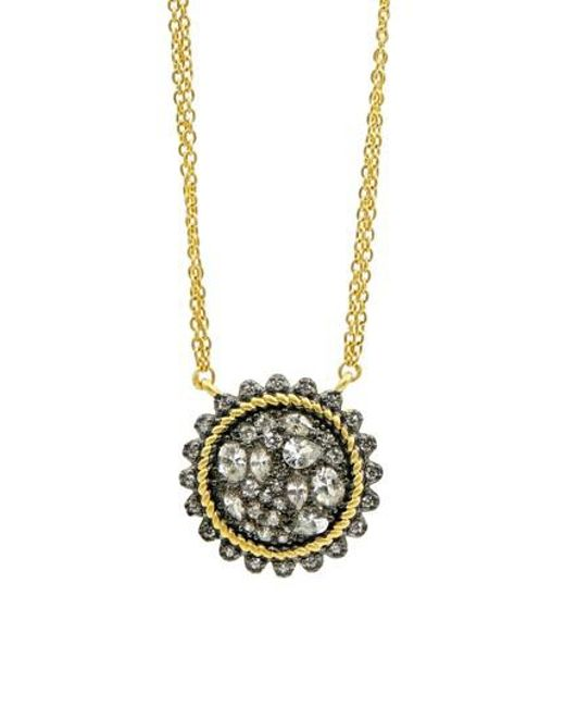 Freida Rothman - Metallic Gilded Cable Pebble Stone Disc Necklace - Lyst