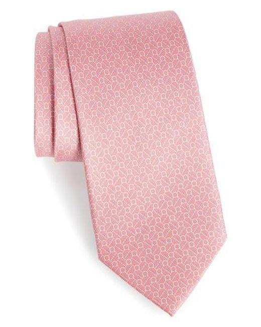 Ferragamo | Pink Eroe Geo Print Silk Tie for Men | Lyst