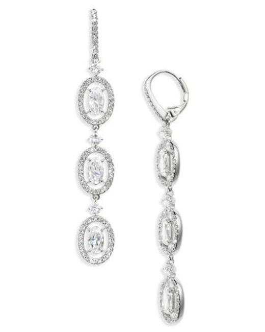Nadri | Metallic Oval Halo Drop Earrings | Lyst