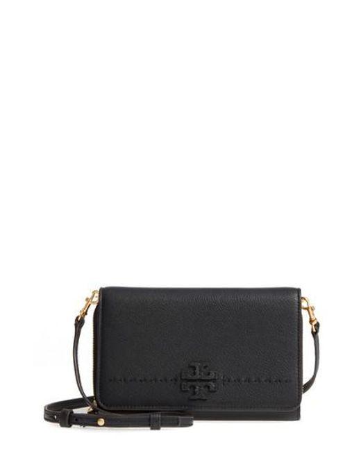 Tory Burch - Black Mcgraw Leather Crossbody Wallet - Lyst