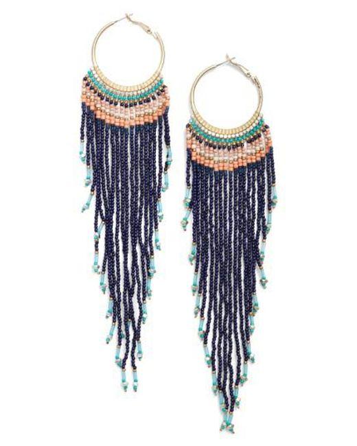 Nakamol | Blue Aban Beaded Tassel Hoop Earrings | Lyst