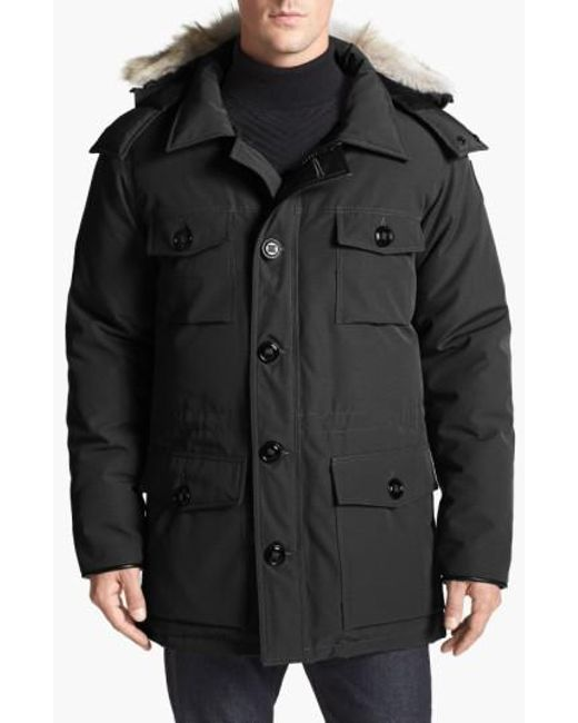Canada Goose | Black 'banff' Slim Fit Parka With Genuine Coyote Fur Trim for Men | Lyst