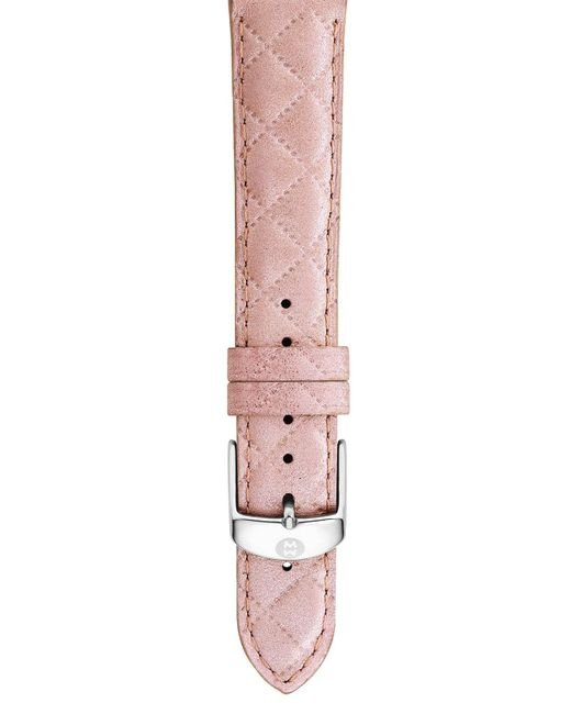 Michele - Pink 18mm Quilted Leather Watch Strap - Lyst