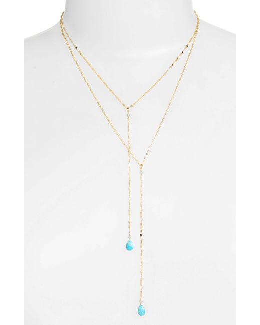 Serefina - Metallic Layered Lariat Necklace - Lyst