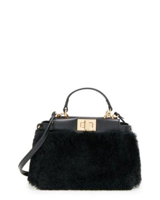 Fendi - Black 'Micro Peekaboo' Genuine Shearling & Lambskin Leather Bag - Lyst