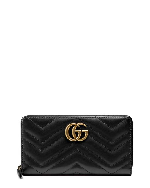 Gucci GG Twisted Marmont Leather Continental Wallet Black