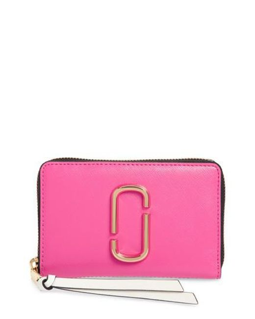 Marc Jacobs - Pink Small Snapshot Leather Zip-around Wallet - Lyst