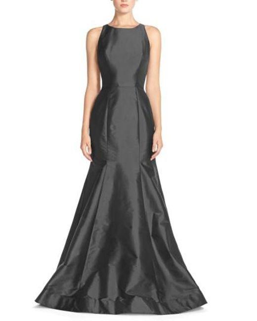 Monique Lhuillier Bridesmaids   Gray Back Cutout Taffeta Mermaid Gown   Lyst