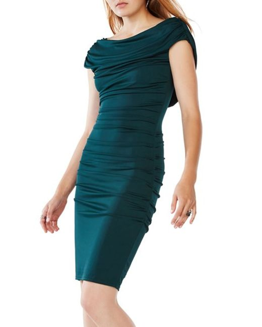 Bcbgmaxazria Stelah Draped Sheath Dress: Bcbgmaxazria 'kylia' Ruched Jersey Sheath Dress In Green