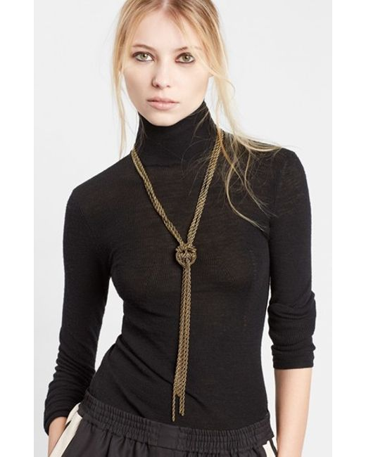 Lanvin | Metallic Loose Knot Brass Necklace | Lyst