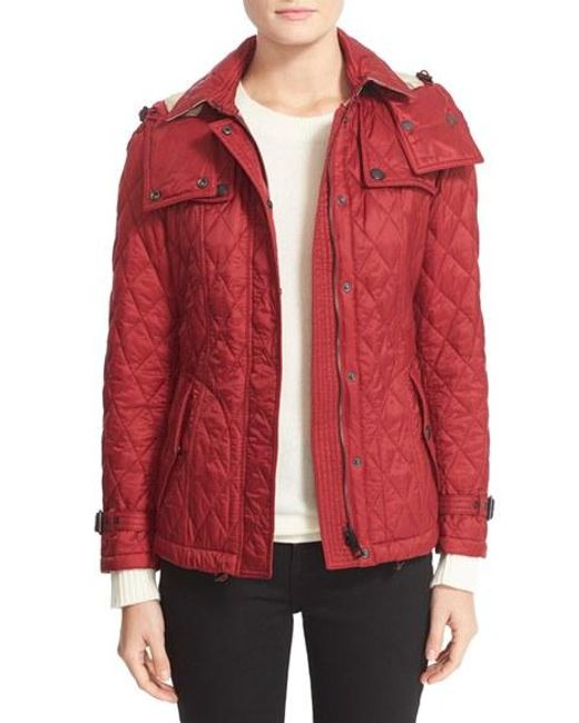 Burberry Finsbridge Short Quilted Jacket In Red Lyst