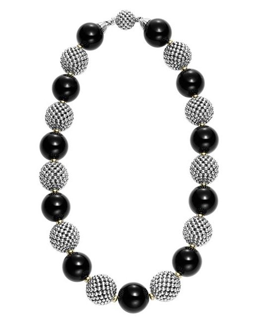Lagos | Metallic 'black Caviar' Beaded Necklace | Lyst