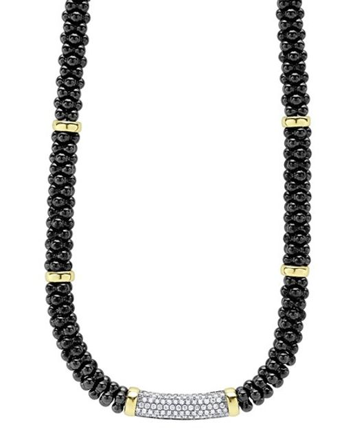 Lagos | Metallic 'black Caviar' 7mm Beaded Diamond Bar Necklace | Lyst
