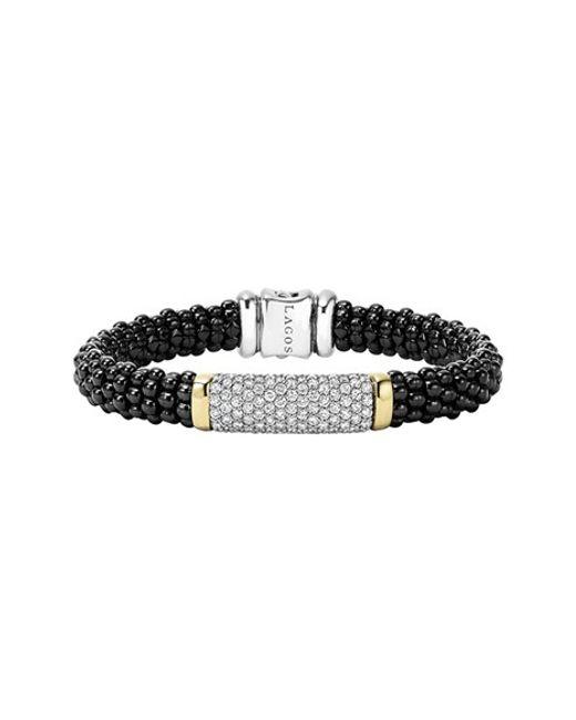 Lagos | 'black Caviar' Diamond Rope Bracelet | Lyst