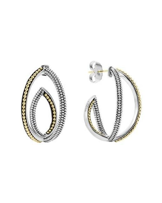 Lagos | Metallic 'infinity' Crisscross Hoop Earring | Lyst