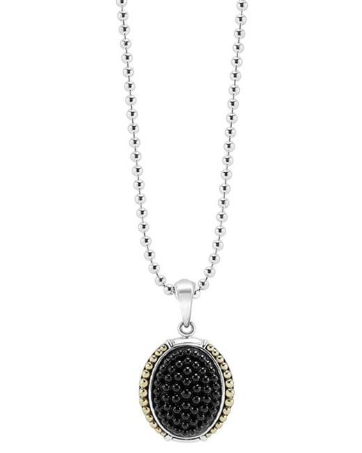Lagos | Metallic 'black Caviar' Oval Pendant Necklace | Lyst