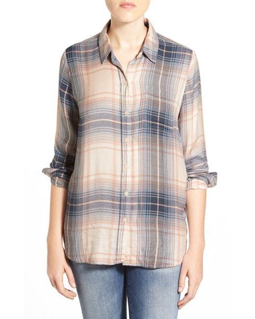 Lucky Brand   Blue 'bungalow' Plaid Lightweight Flannel Shirt   Lyst