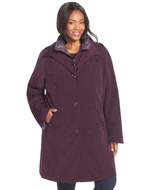 Gallery | Purple Two-tone Long Silk Look Raincoat | Lyst