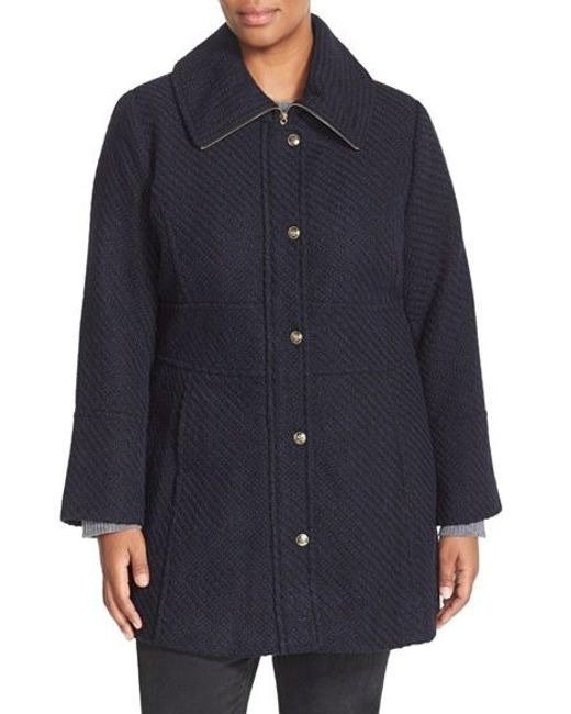 Jessica Simpson | Blue Basket Weave Fit & Flare Coat | Lyst