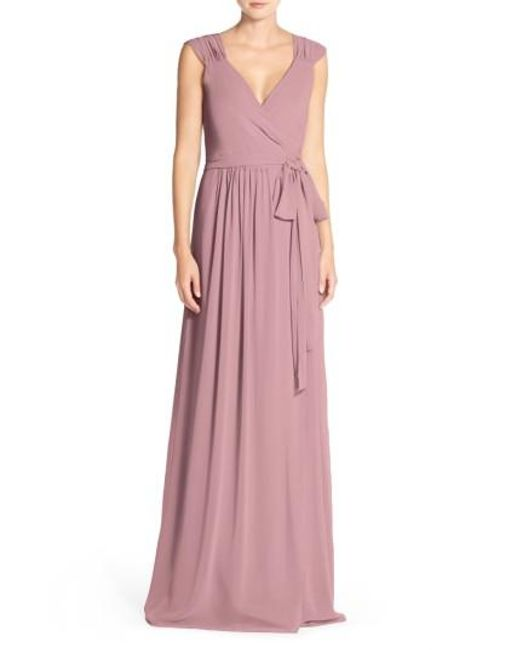 Joanna August | Pink 'newbury' Gathered Sleeve Chiffon Wrap Gown | Lyst