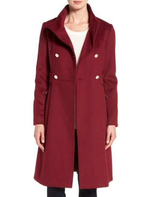 Eliza J | Red Wool Blend Long Military Coat | Lyst