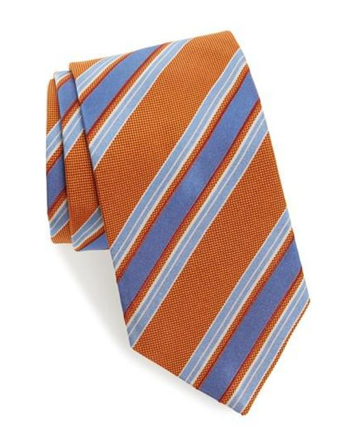 David Donahue - Blue Stripe Silk Tie for Men - Lyst